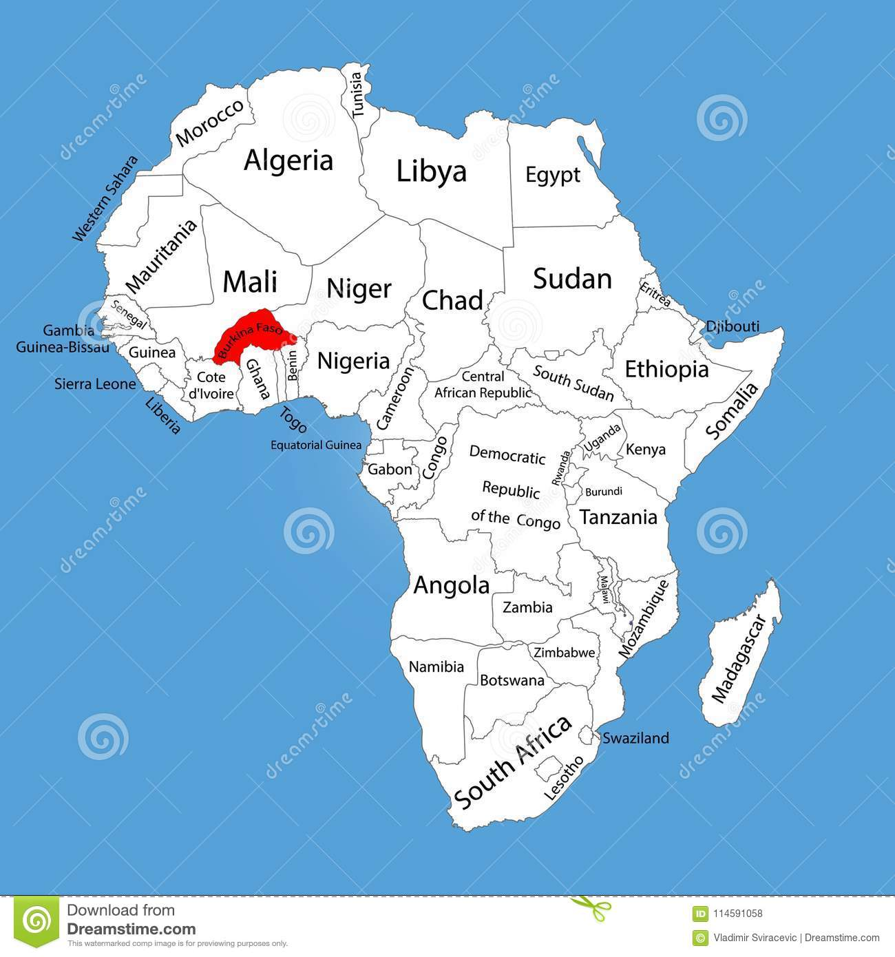 Burkina Faso Map Silhouette Isolated On Africa Map. Editable Map
