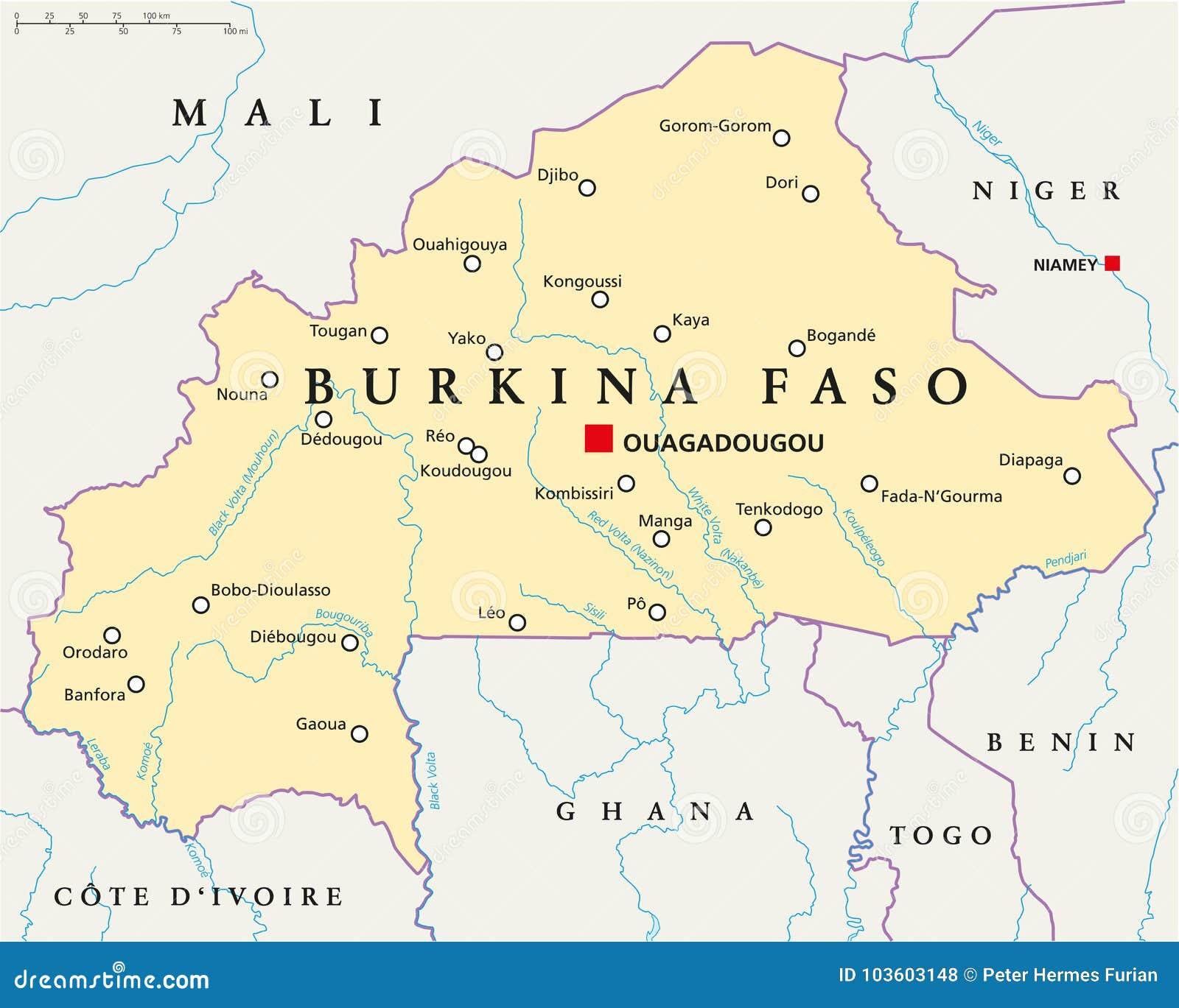 Burkina Faso Map Burkina Faso Political Map stock vector. Illustration of  Burkina Faso Map