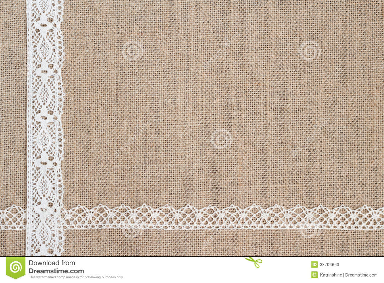 Burlap Background With Lace Stock Image