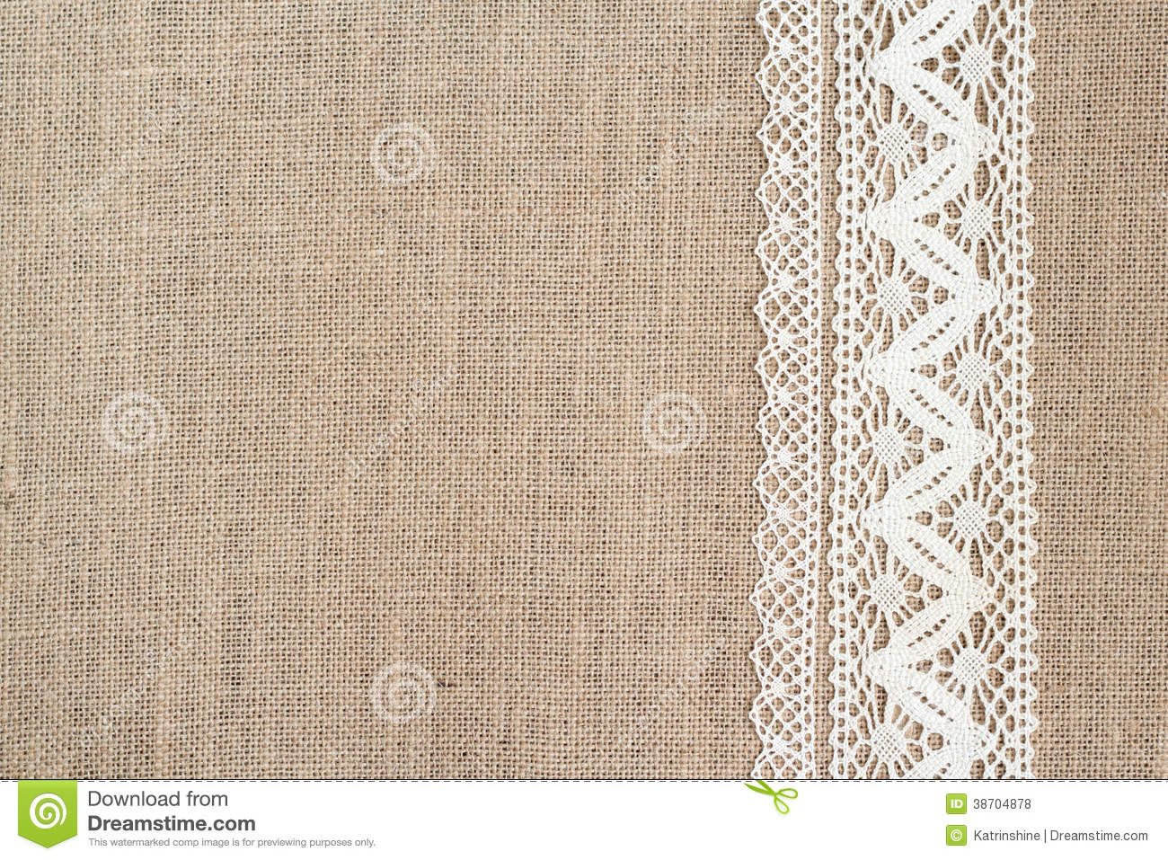 Burlap Background With Lace Aged Countryside Royalty Free Stock Photo