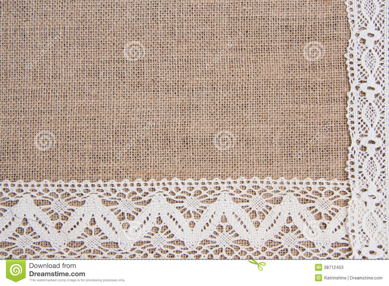 Burlap Background With Lace Stock Photo 38712453