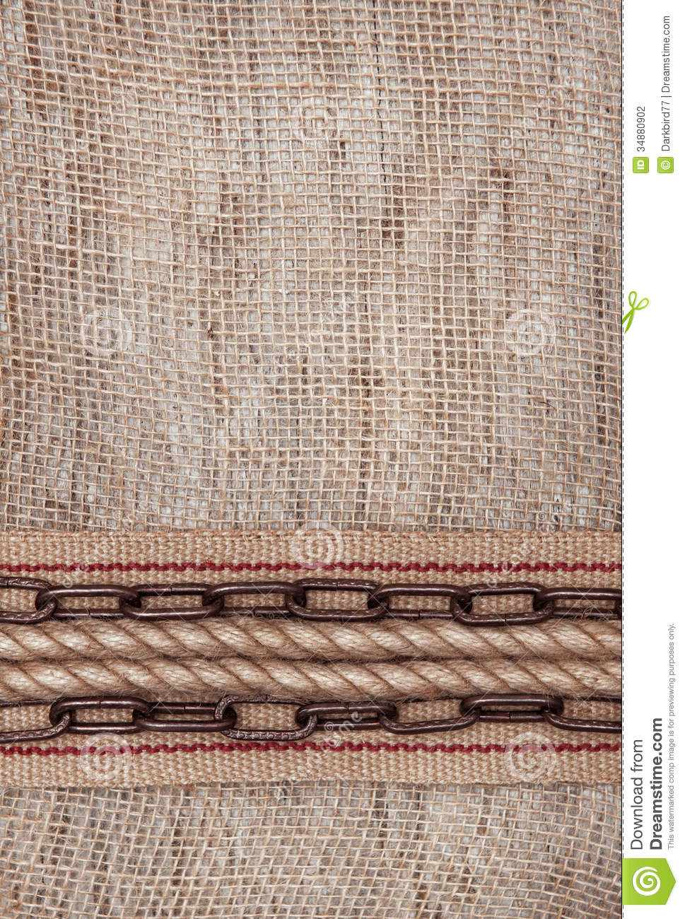burlap background with sacking ribbon metal chain and rope stock photo image 34880902. Black Bedroom Furniture Sets. Home Design Ideas