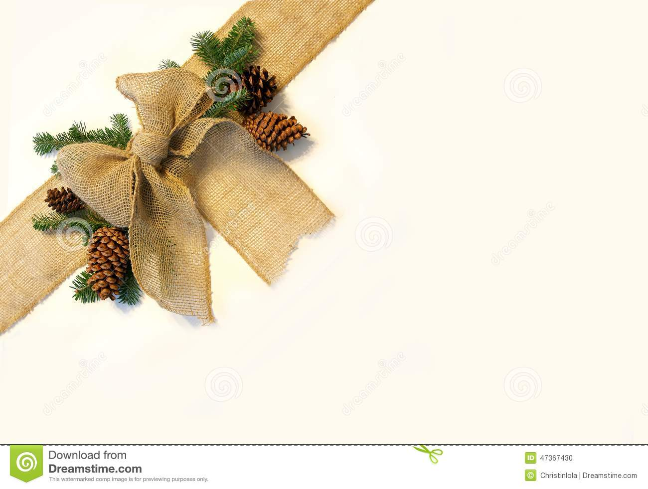 Burlap Christmas Bow And Pine Cones Frame On White Background Stock ...