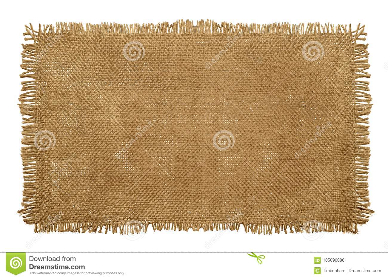 Burlap Hessian Sack material with worn frayed edges isolated on
