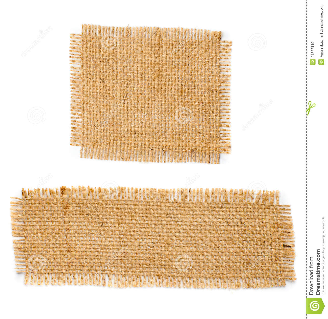 burlap hessian square with frayed edges set stock photo image 21583110. Black Bedroom Furniture Sets. Home Design Ideas