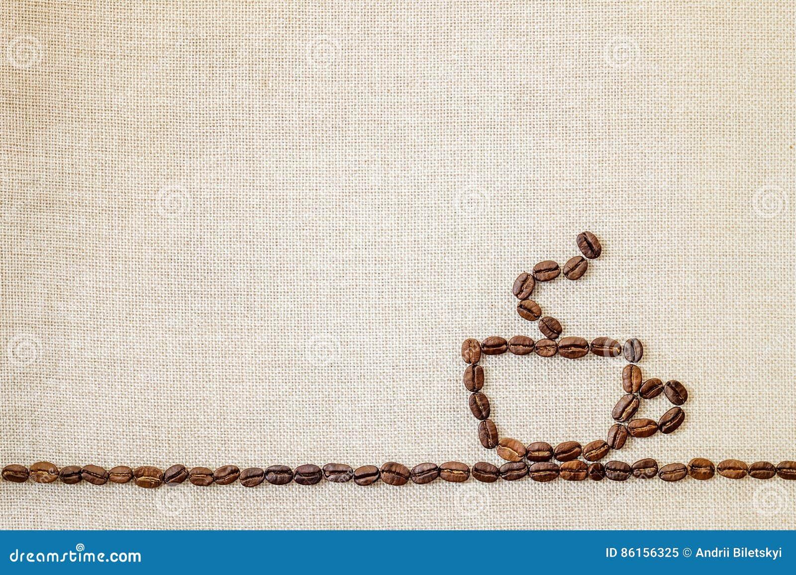 Burlap Sackcloth καμβάς και υπόβαθρο φωτογραφιών φασολιών καφέ αντίγραφο