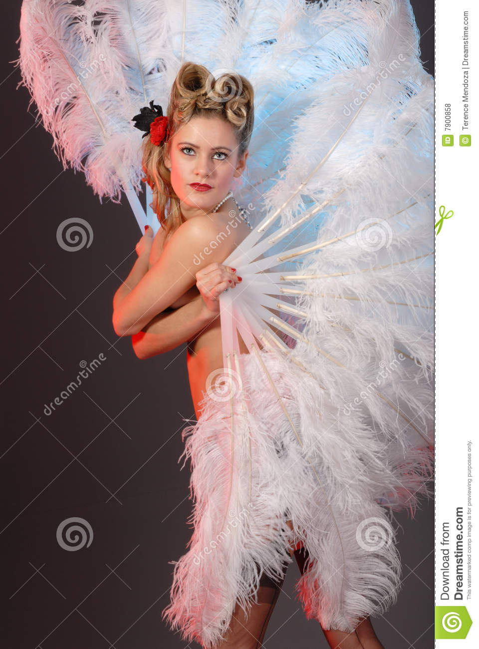 Burlesque Artist With Ostrich Feather Fan Stock Photo