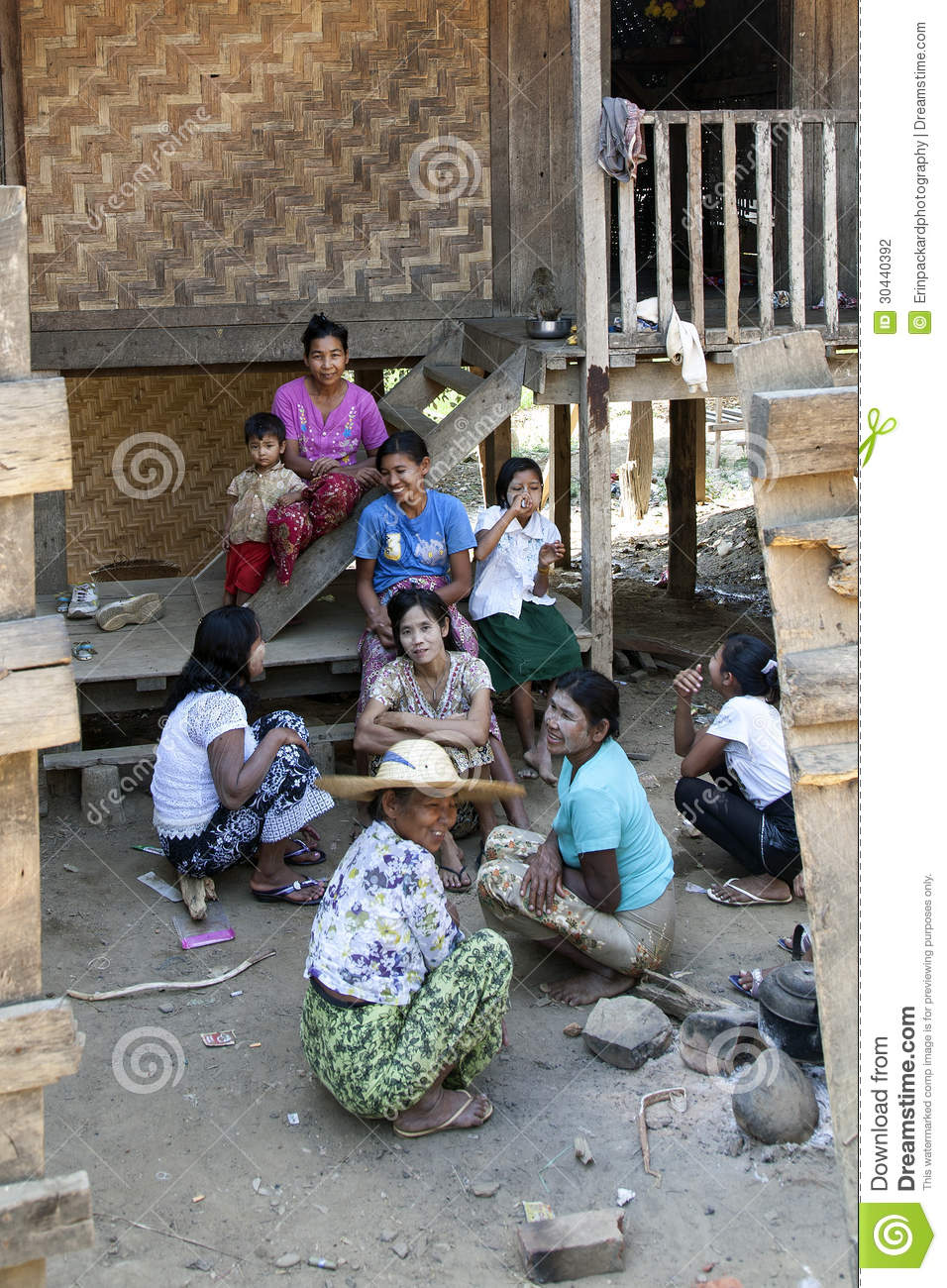 Burmese Family At Home Editorial Photography Image 30440392