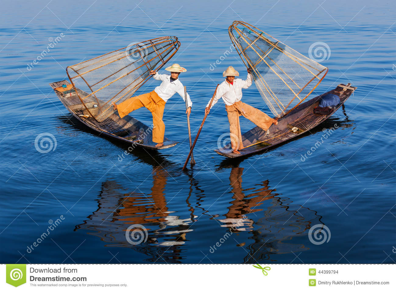 Burmese fishermen at Inle lake, Myanmar