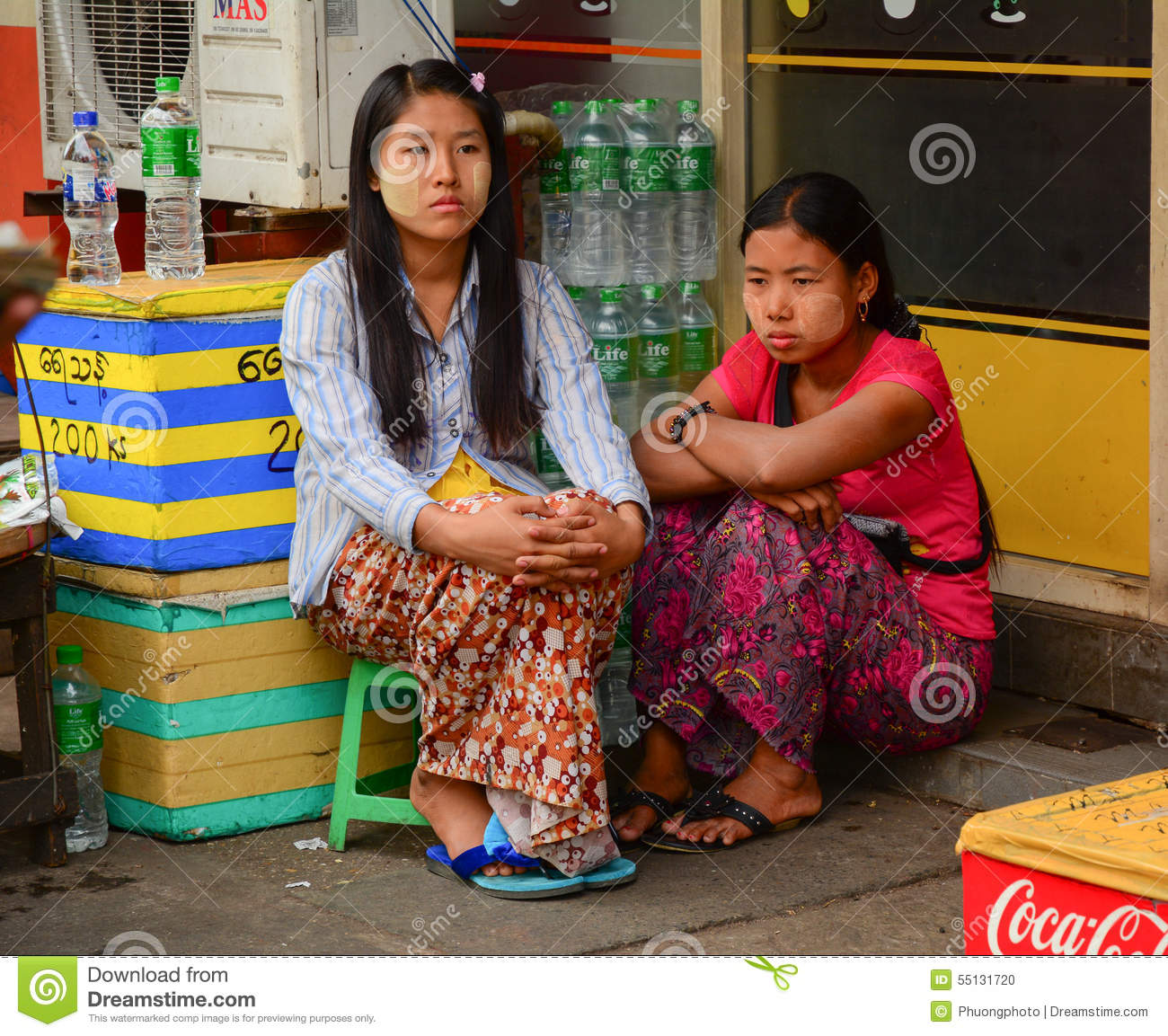 Burmese Women With Thanaka On Her Face In Yangon Editorial Image