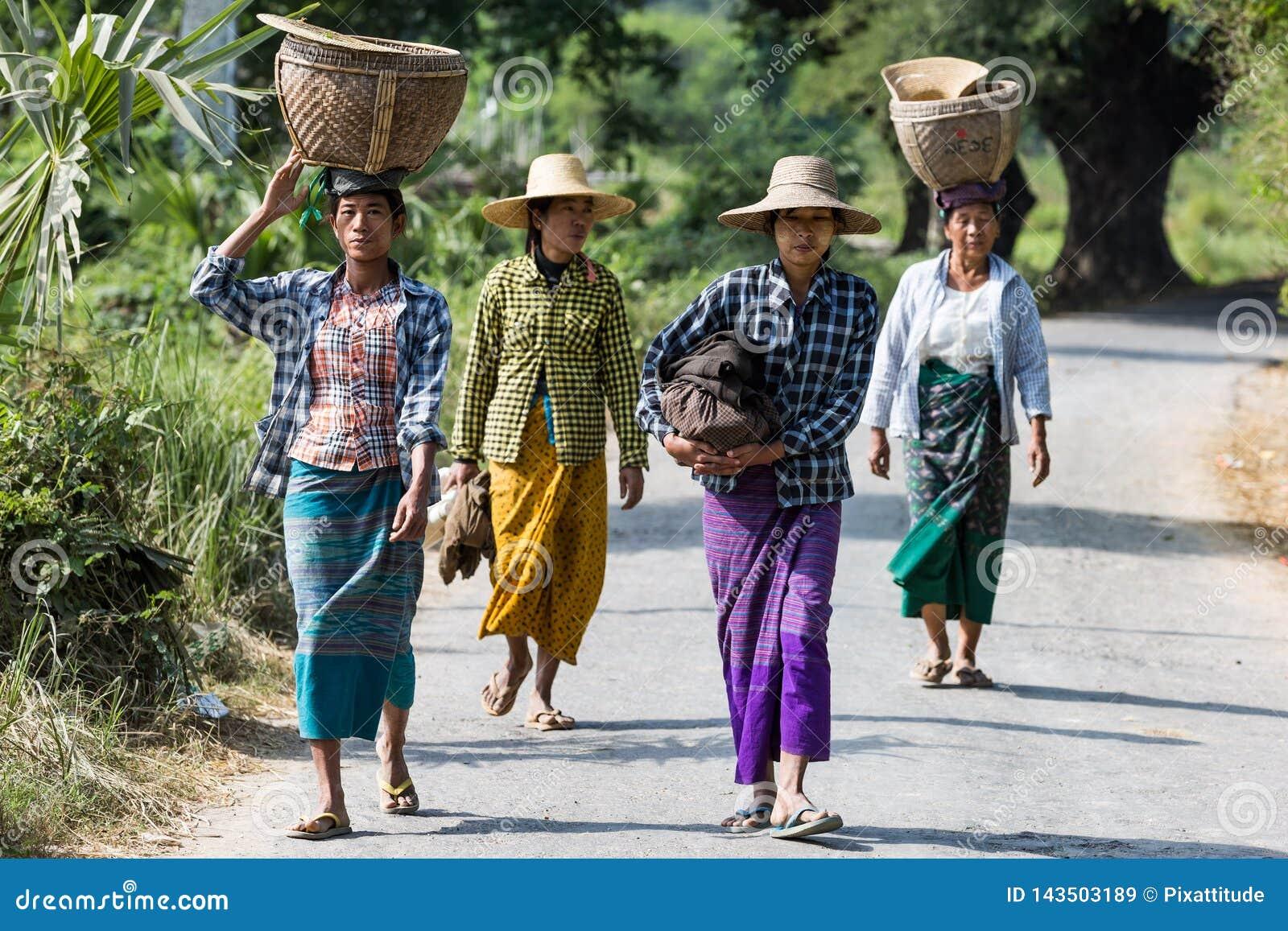 Burmesse rolników kobiety Monywa Myanmar