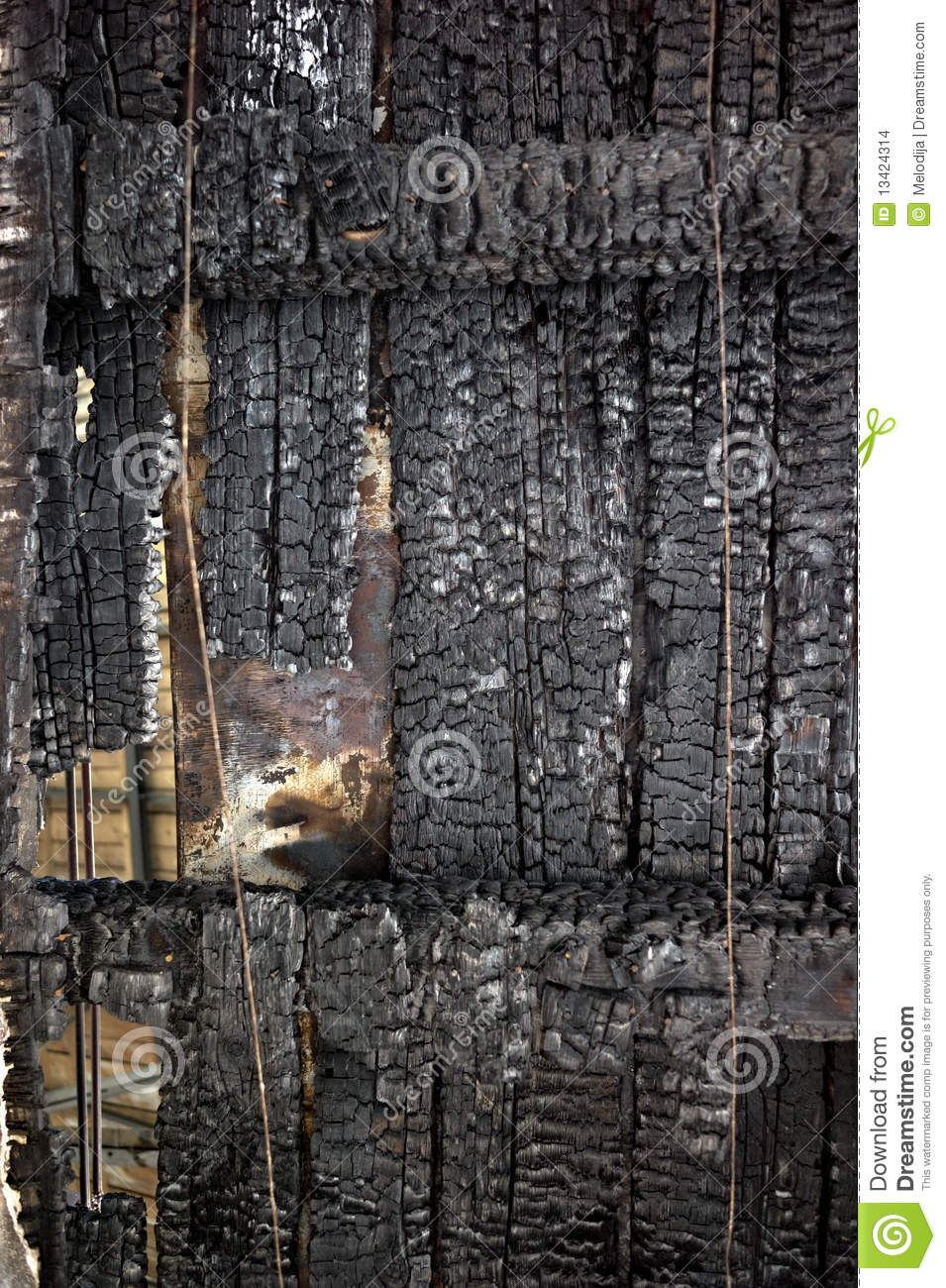 Burn out wood roof stock images image 13424314 for How to clean smoke damage from painted walls