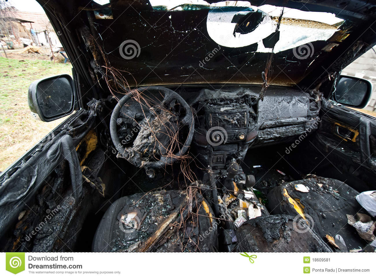 Sell Old Car >> Burned car stock image. Image of driving, caution, crash - 18609581