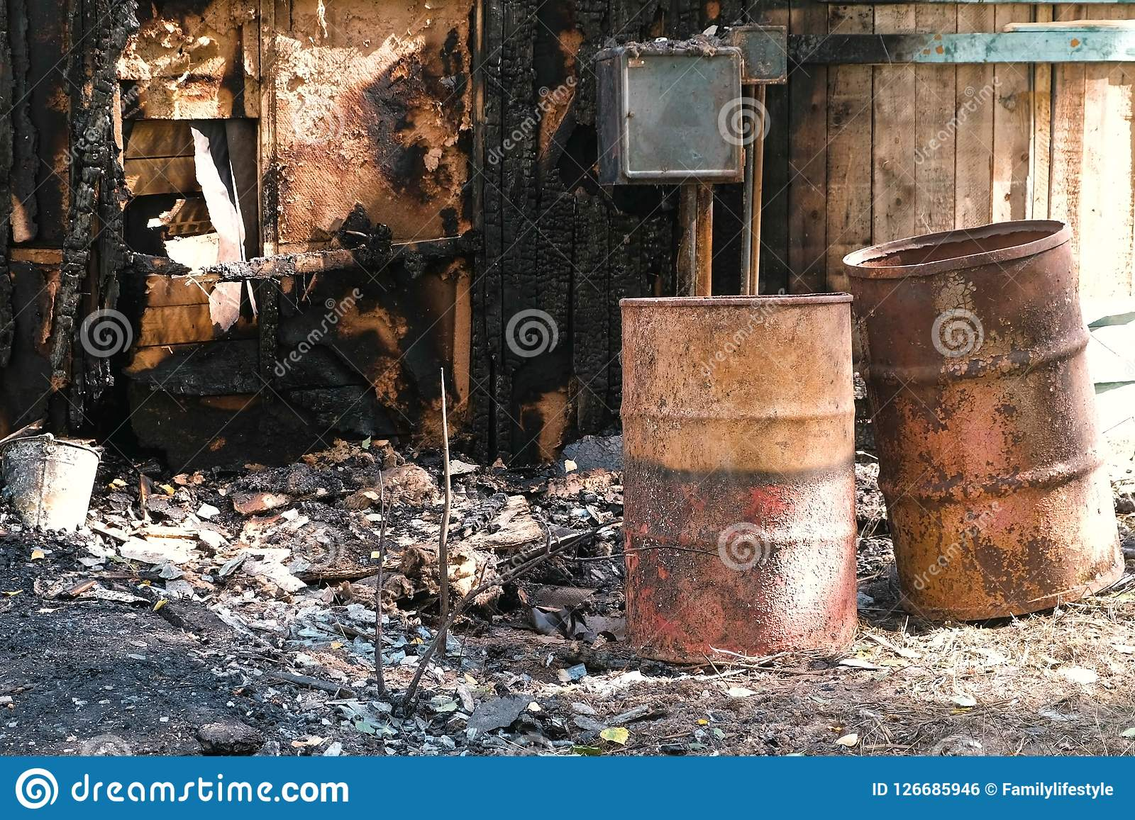 Burned Down Private Wooden House Outdoor Park  Stock Photo