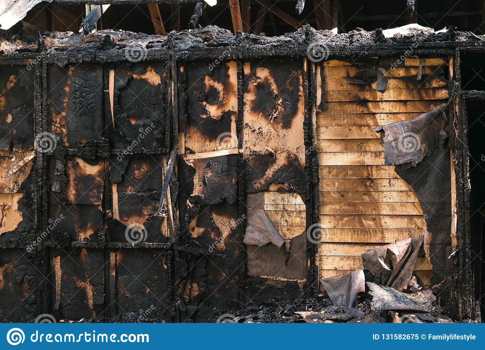 Burned Down Private Wooden House Outdoor Park  Stock Image