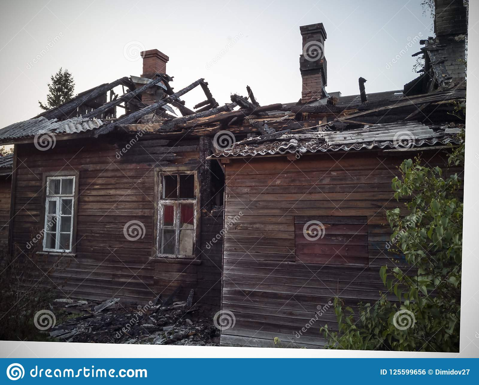 Burned-down Wooden House Stock Photo  Image Of Construction