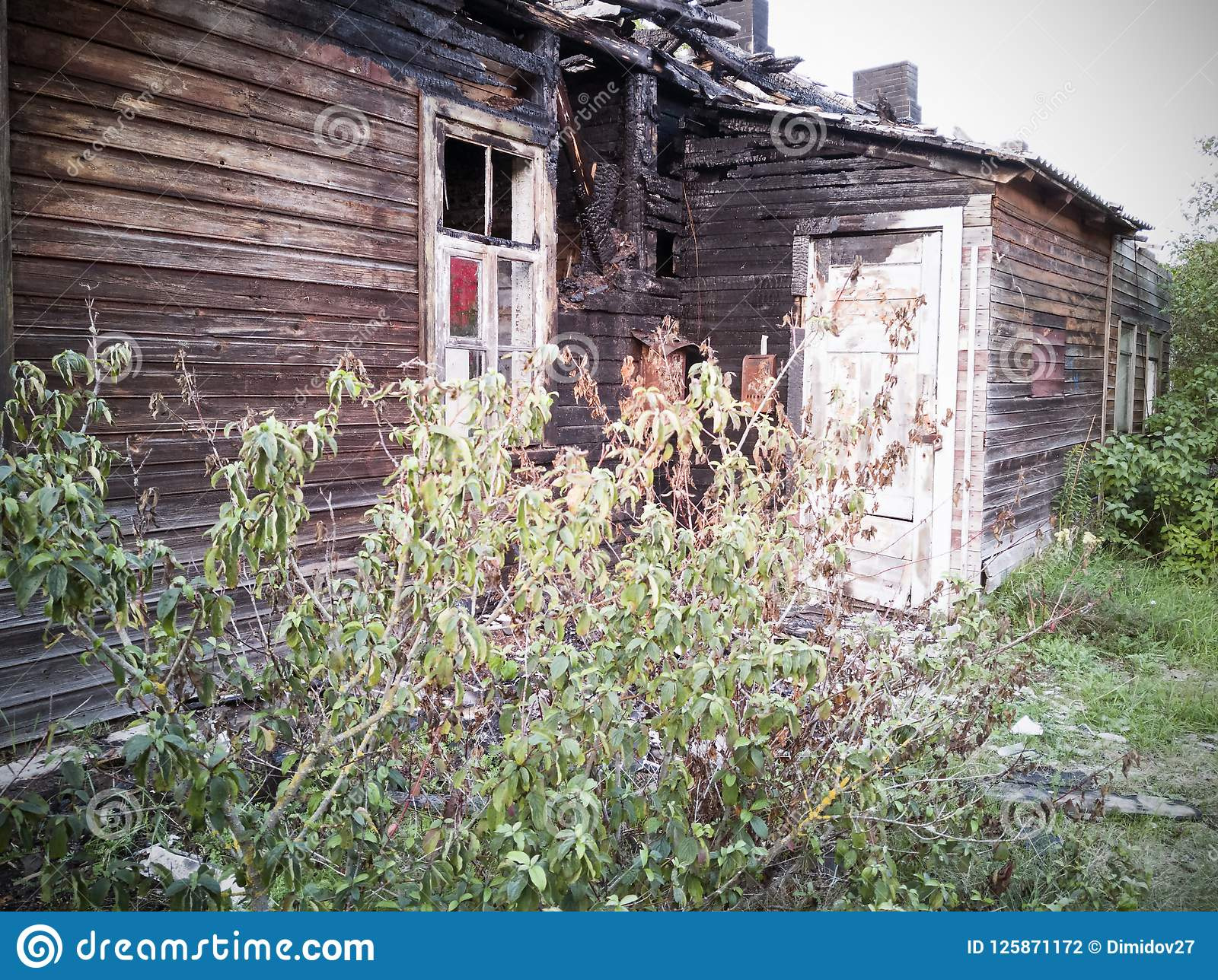 Burned-down Wooden House Stock Photo  Image Of Broken