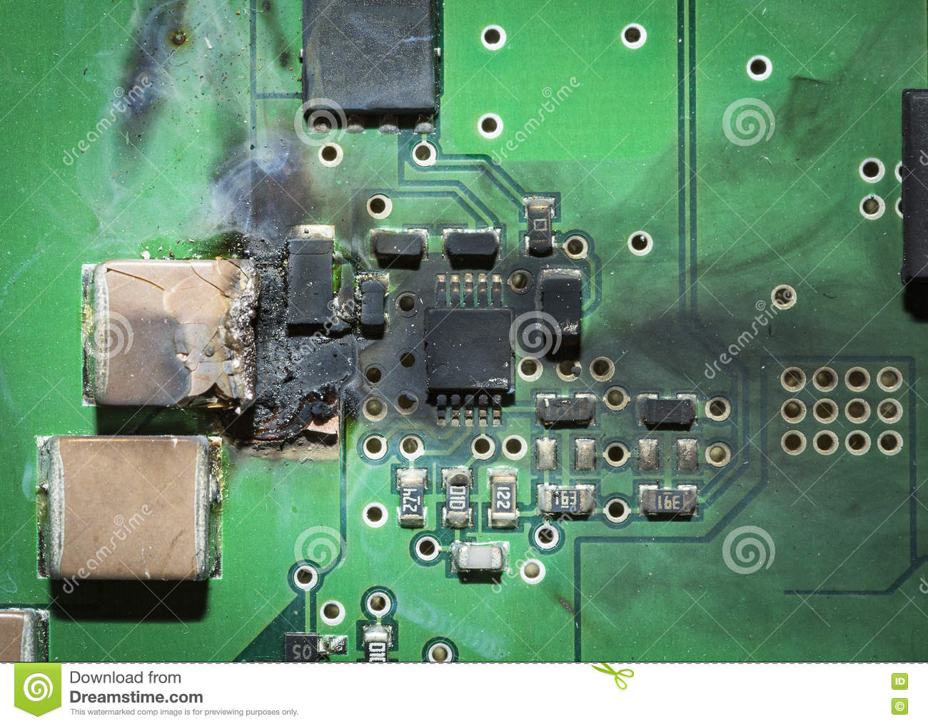 burned electronic smd printed circuit board pcb after a short rh dreamstime com  Fuse On Circuit Board