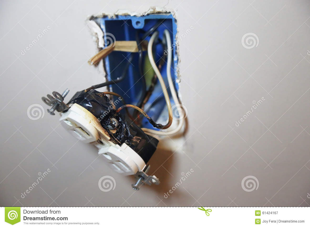 Remarkable Burned Faulty Electrical Outlet Stock Image Image Of Plug Faulty Wiring 101 Akebretraxxcnl