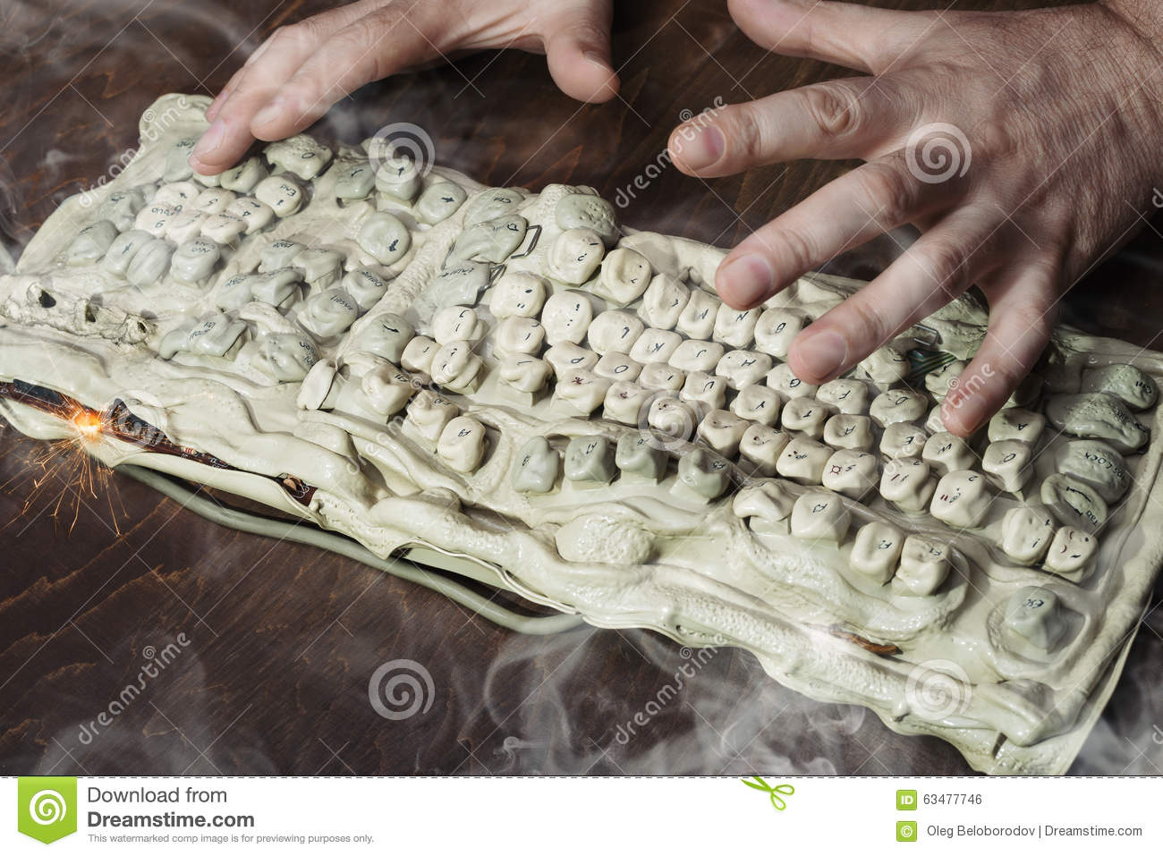 High Voltage Keyboard : Burned keyboard stock photo image