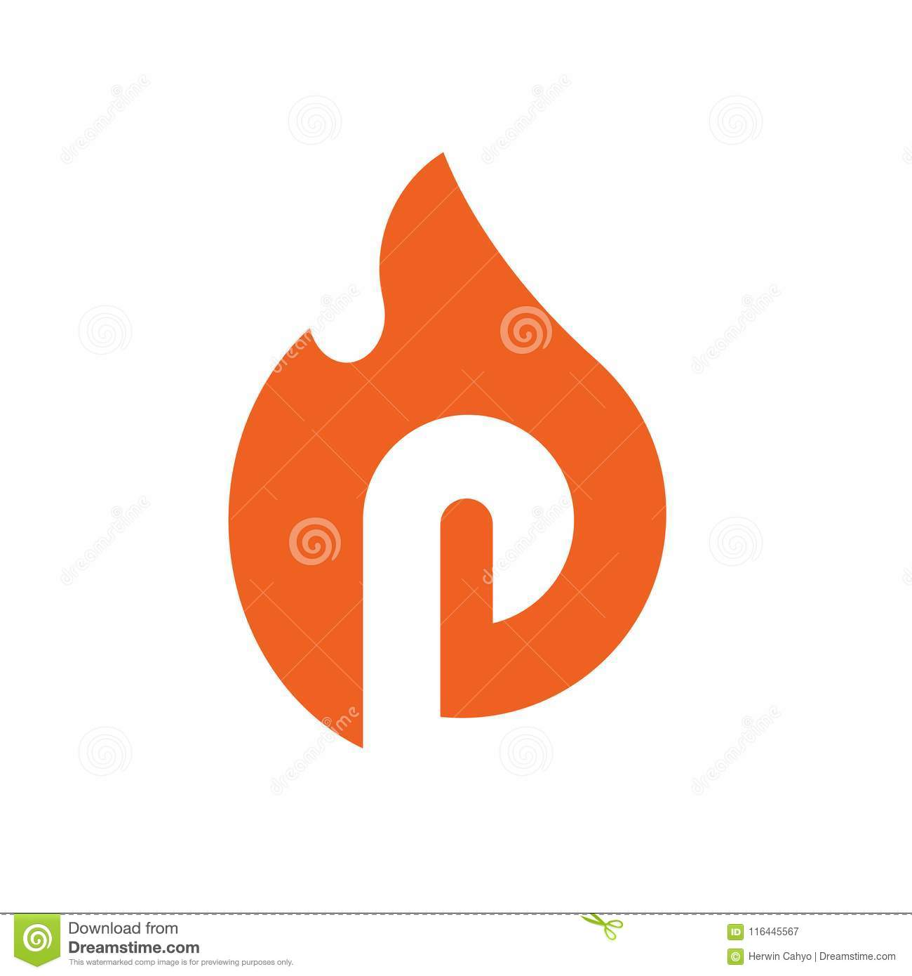 Burned Letter P Symbols Alphabet P Combined With Fire Vector
