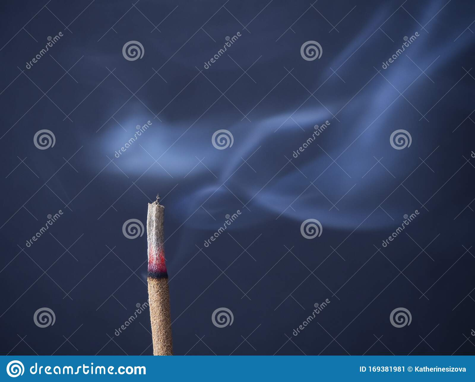 Burning Aromatic Incense Stick With Cinder And Smoke On A Gray Background With Copy Space Stock Image Image Of Aroma Background 169381981