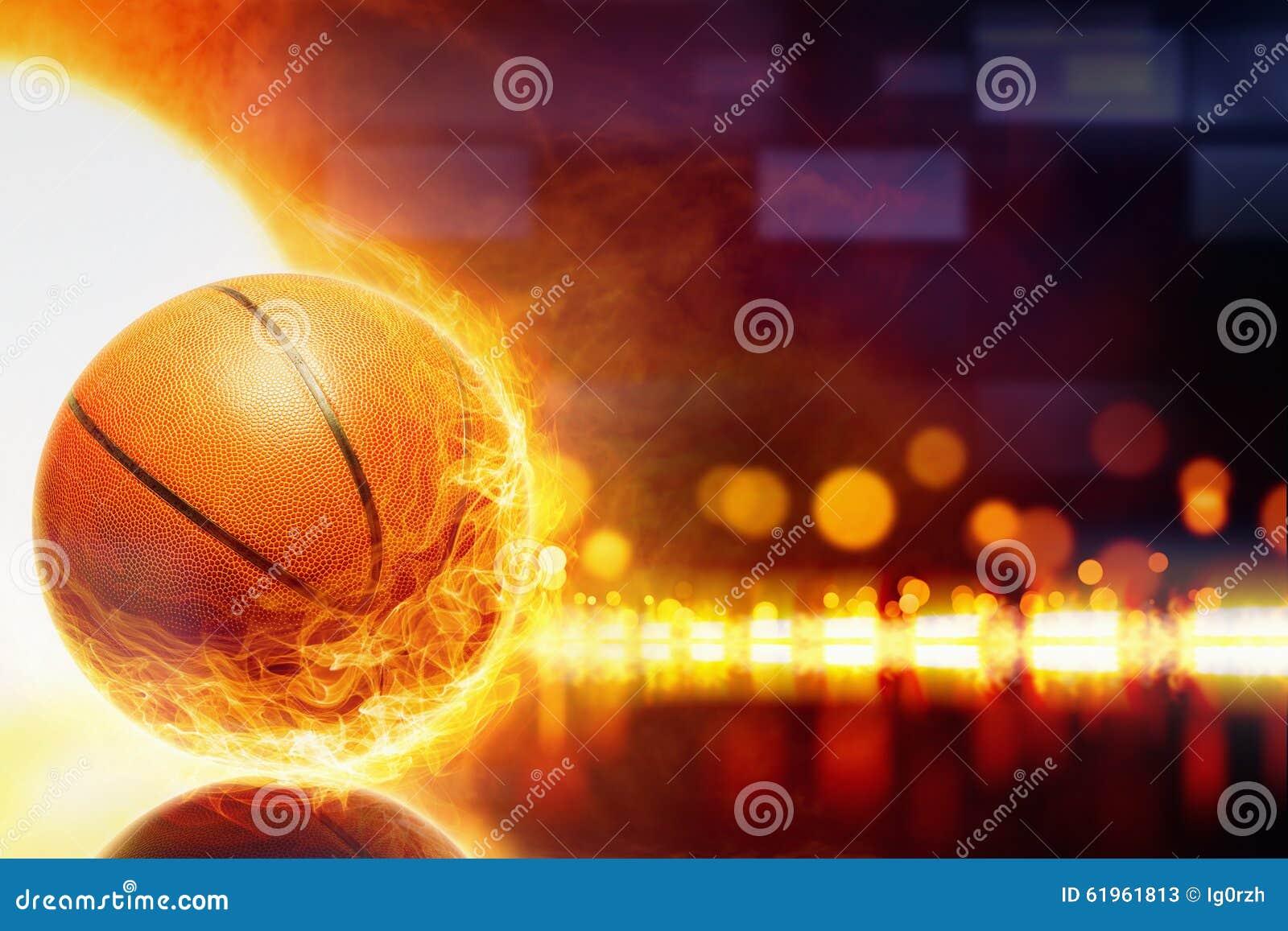 Abstract Sports Background Royalty Free Stock Image: Burning Basketball Stock Photo