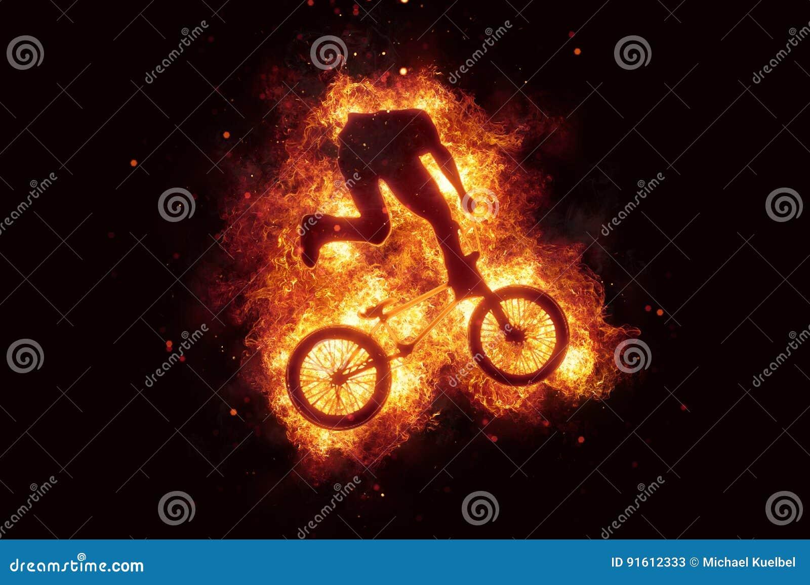 Burning bike bmx biker bikinig fire flames