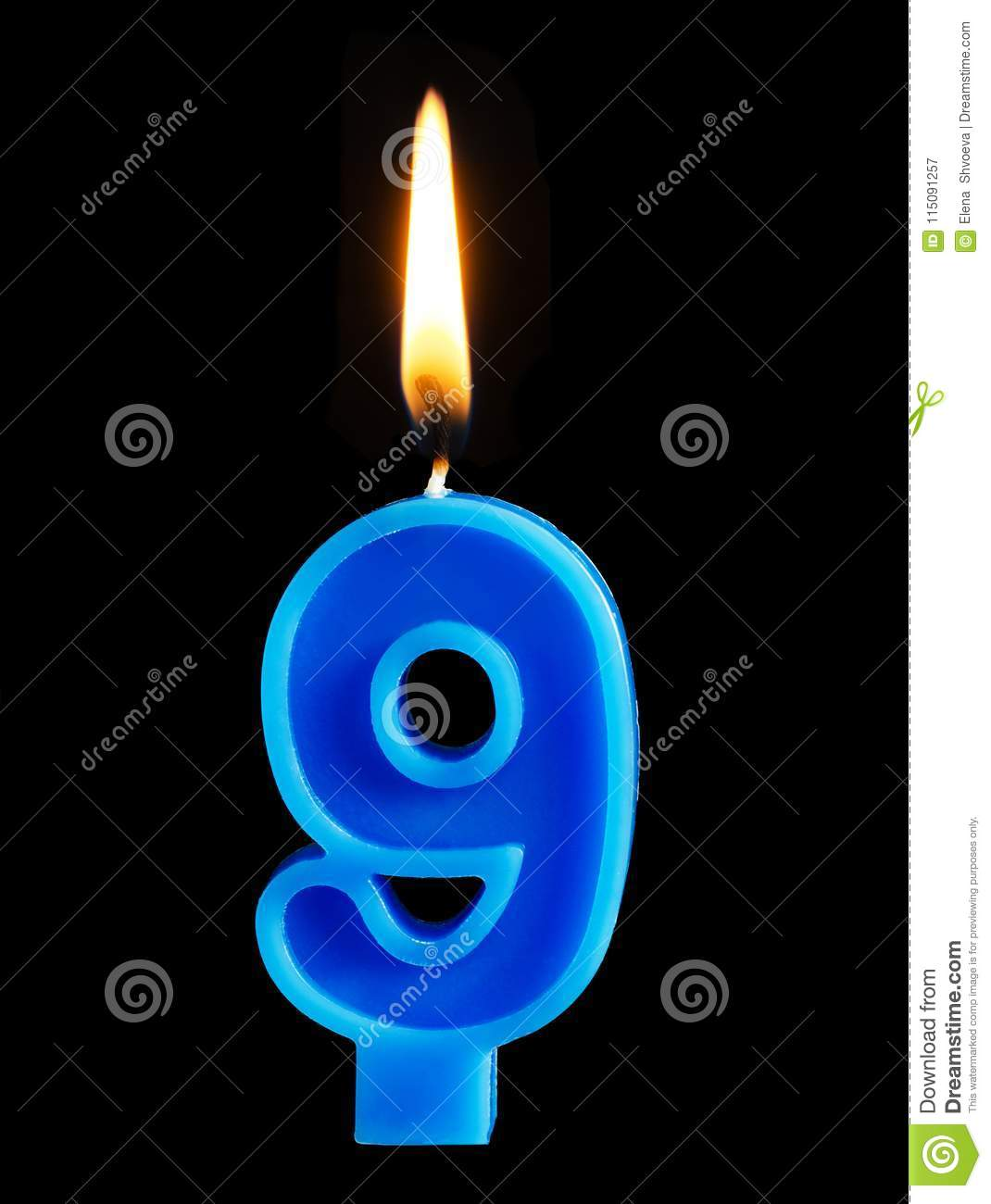 Burning birthday candle in the form of 9 nine figures for cake isolated on black background. The concept of celebrating a birthday
