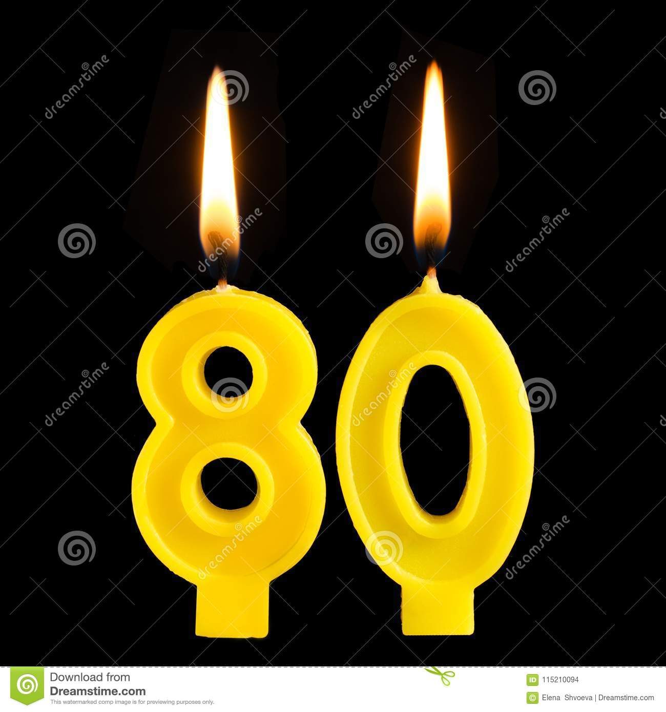 Burning Birthday Candles In The Form Of 80 Eighty Figures For Cake Isolated On Black Background