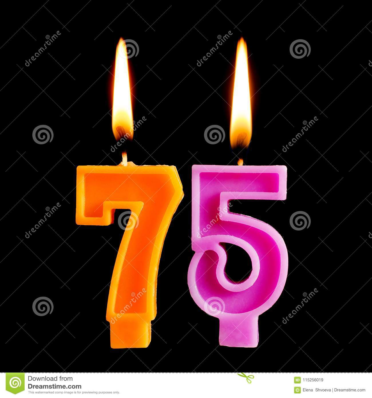 Burning Birthday Candles In The Form Of 75 Seventy Five Figures For Cake Isolated On Black