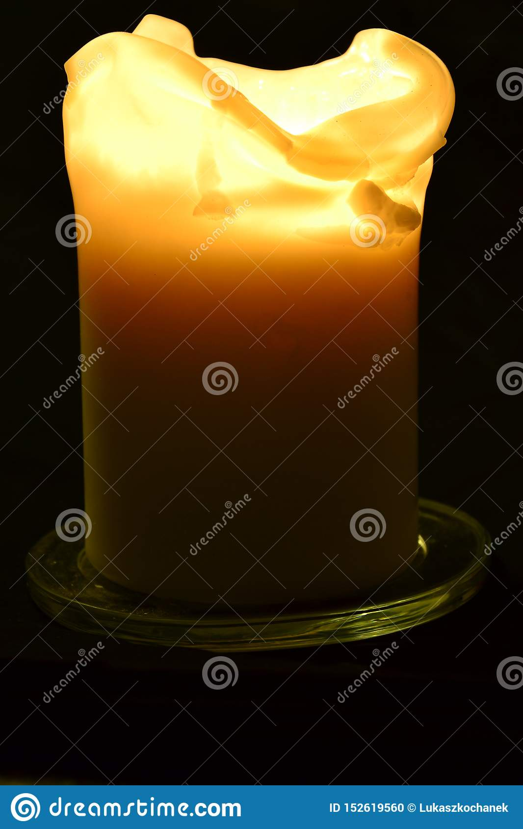 Burning Candle On A Black Background - Flame Photography ...