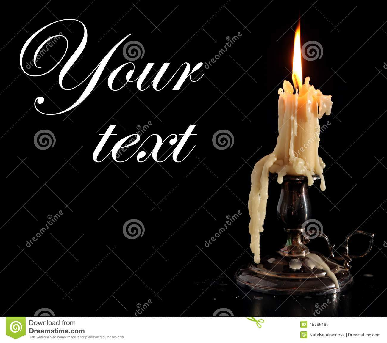 Burning Candle In Old Silver Candlestick Isolated