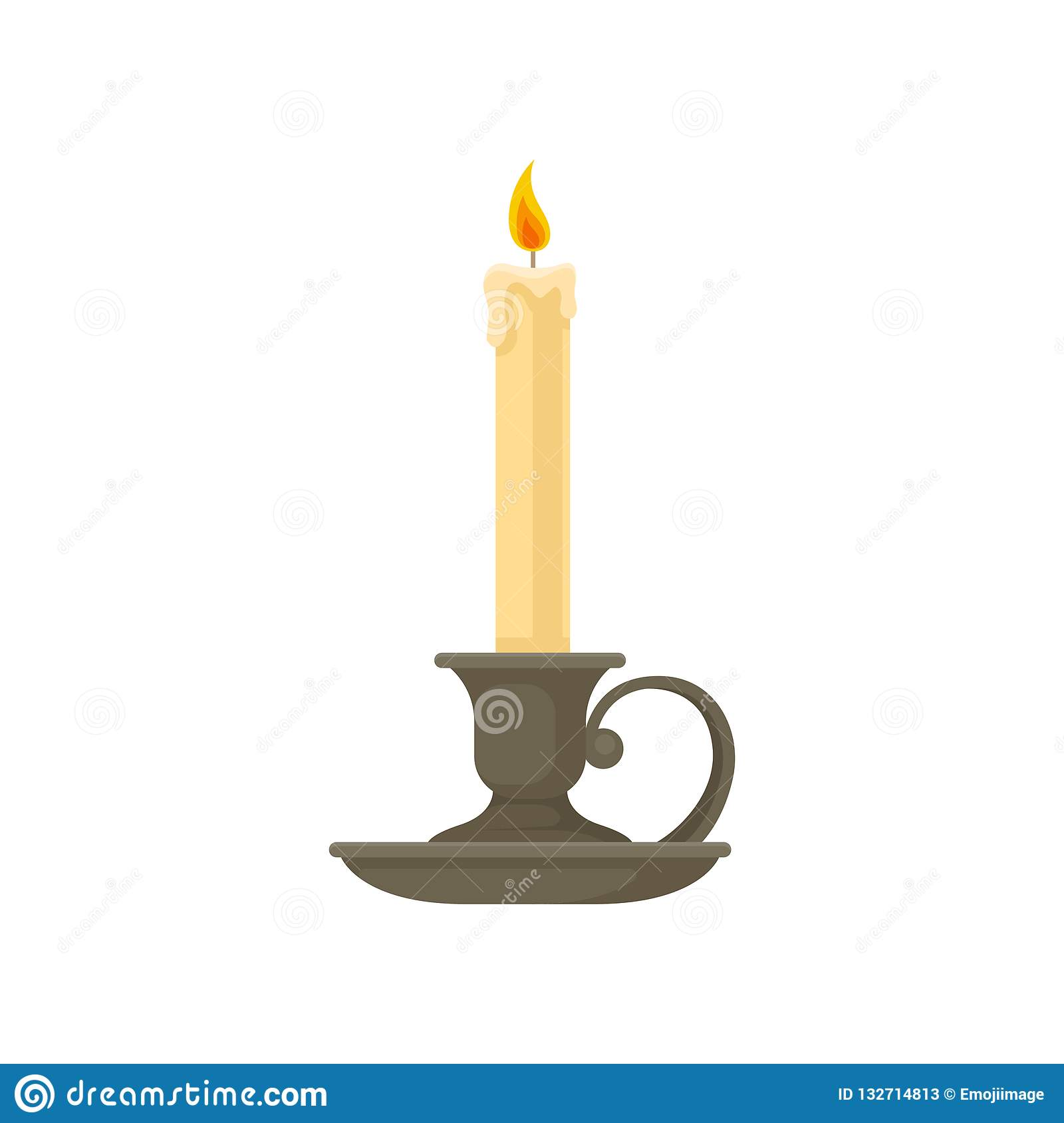Burning Candle In A Vintage Candle Holder Candlestick Vector Illustration On A White Background Stock Vector Illustration Of Historic Fire 132714813