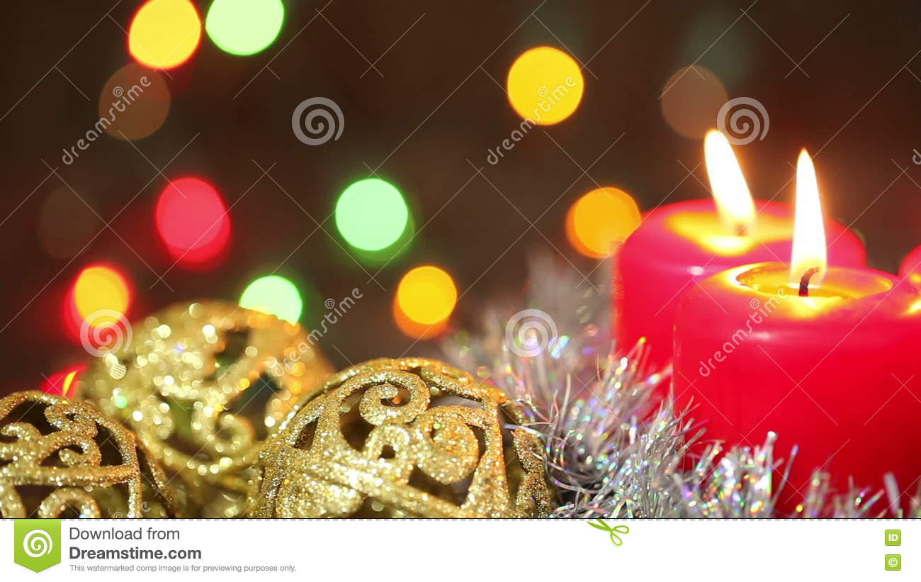 Burning Candles And Christmas Decorations Stock Footage Video Of