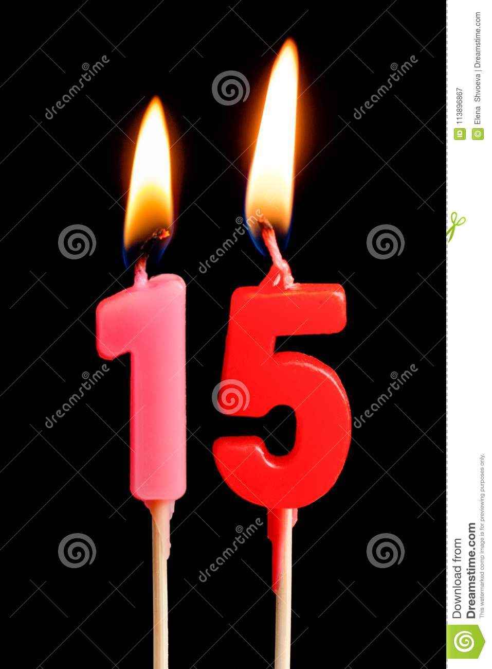 Burning Candles In The Form Of 15 Fifteen Figures Numbers Dates For Cake Isolated On