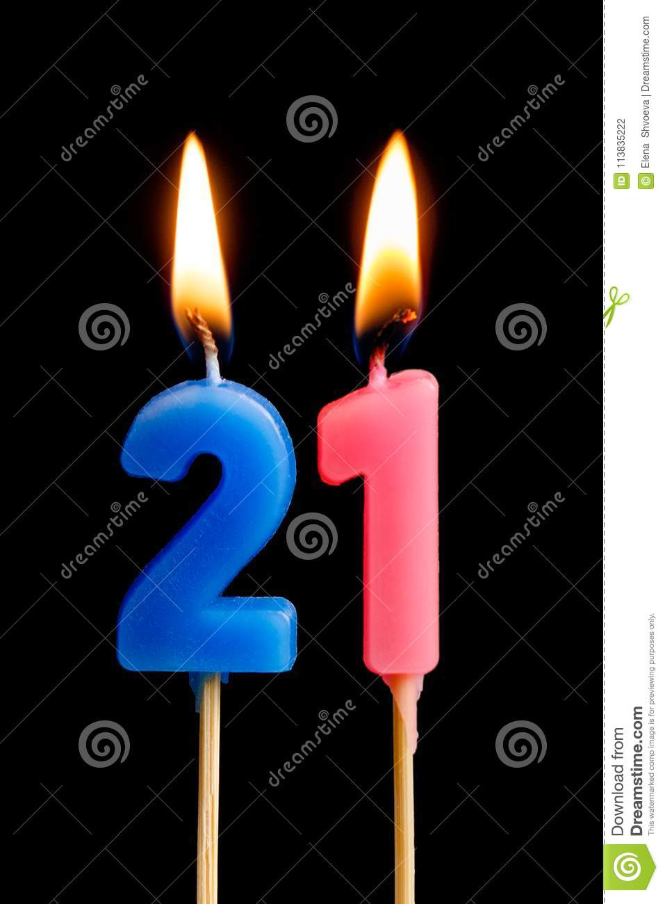 Burning Candles In The Form Of 21 Twenty One Numbers Dates For Cake Isolated On