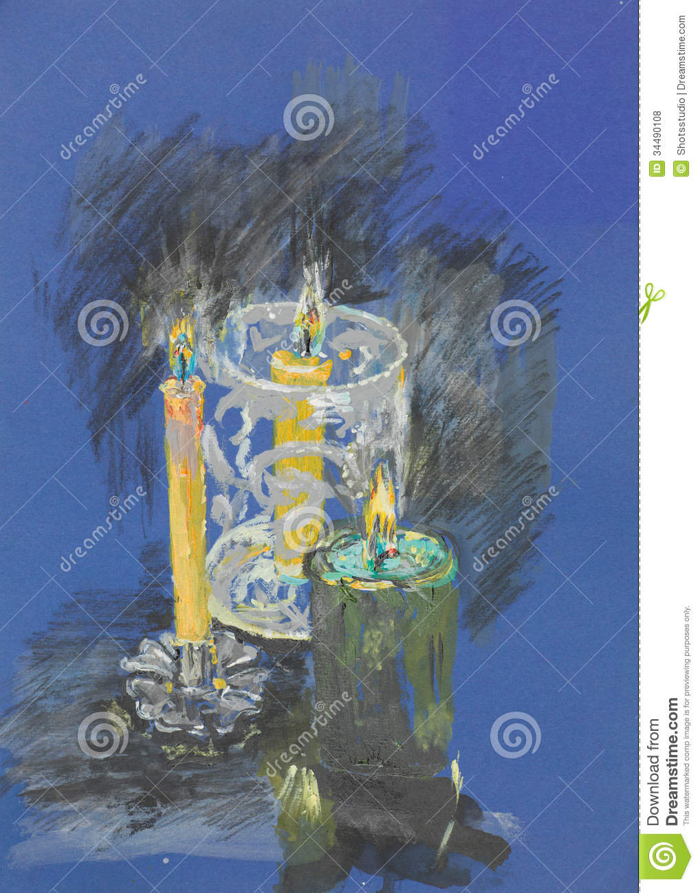 Burning Candles Pastel Drawing Royalty Free Stock Photos