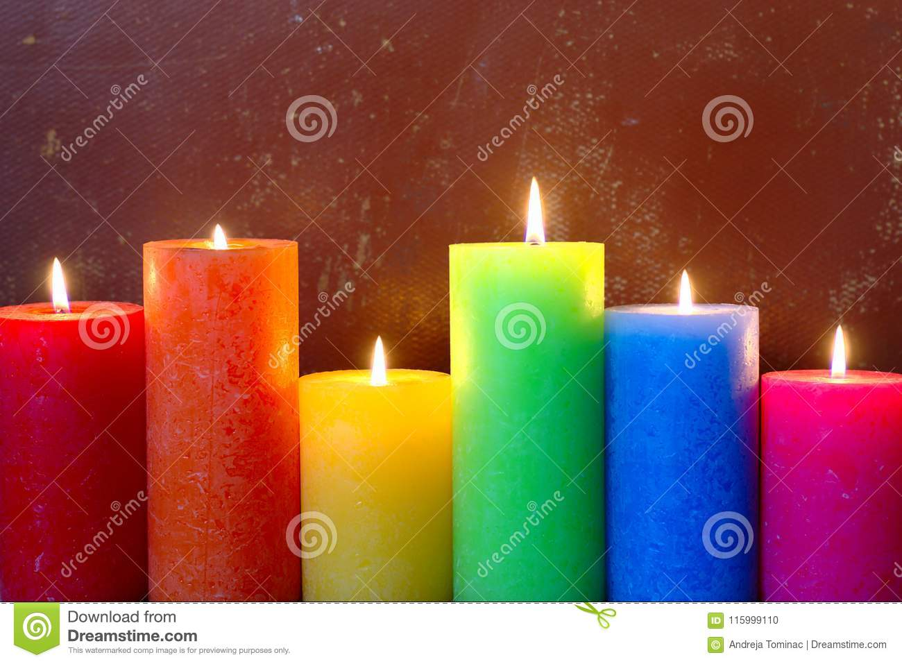 Burning Candles In Rainbow Colors Stock Photo - Image of ...