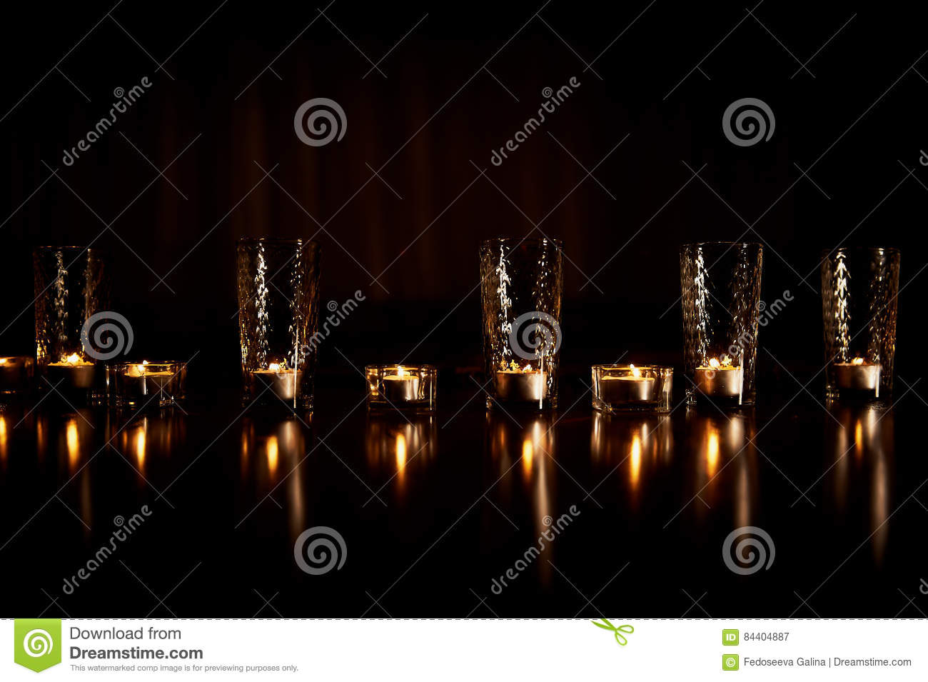 Burning Candles In Transparent Glasses, Shiny Floor, The
