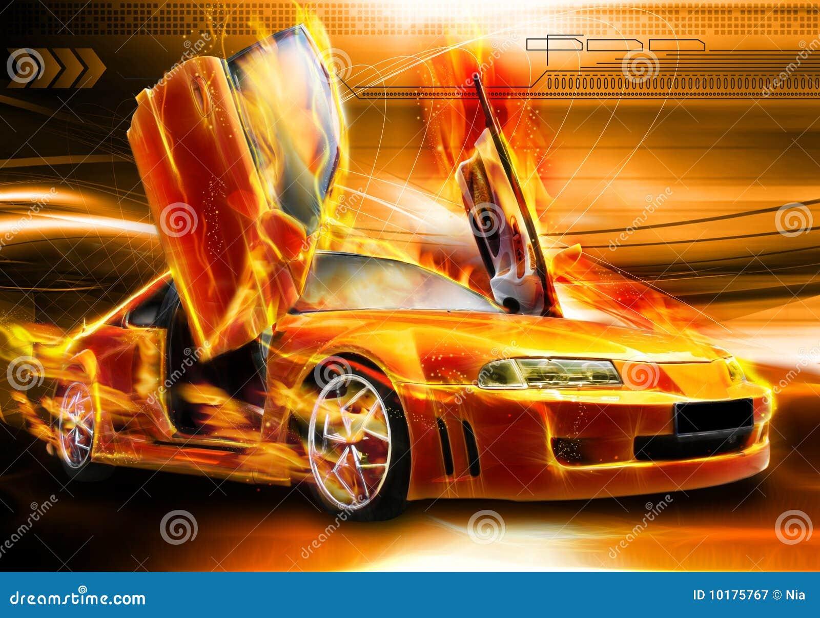 burning car background stock illustration. illustration of night