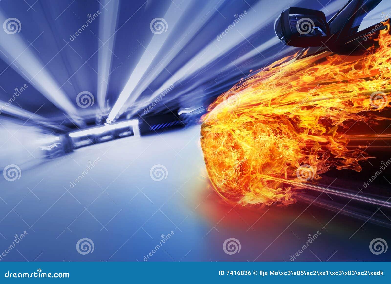 Burning car in tunnel
