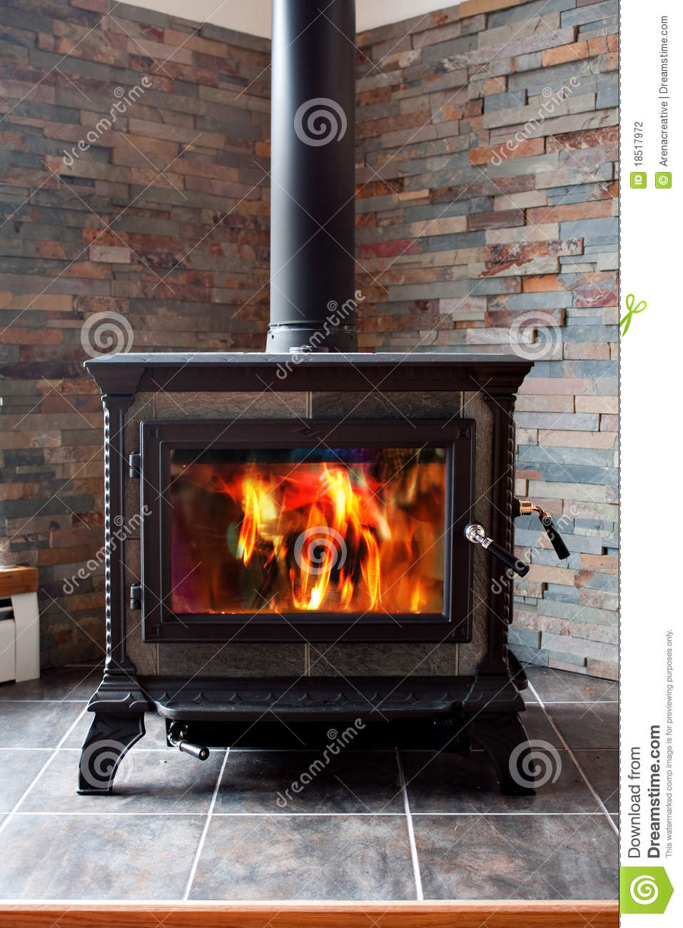 Burning Cast Iron Wood Stove Stock Photography - Burning Cast Iron Wood Stove Stock Photography - Image: 18517972