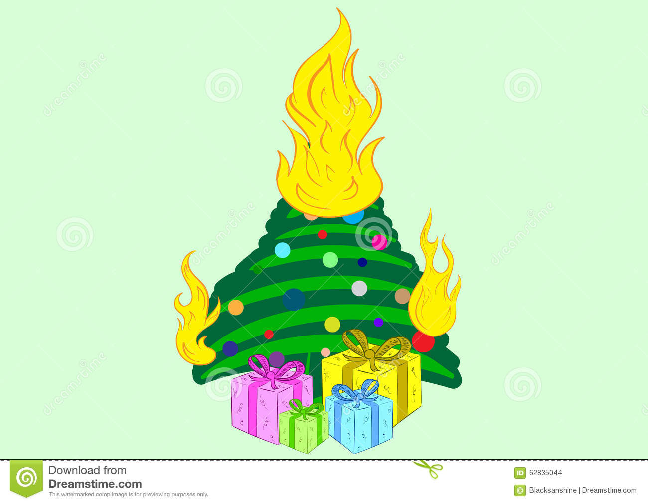 download the burning christmas tree stock vector illustration of fire 62835044