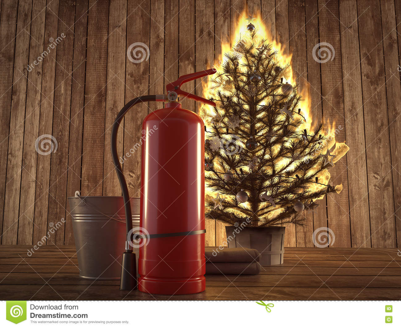 Burning christmas tree with extinguisher and bucket beside d