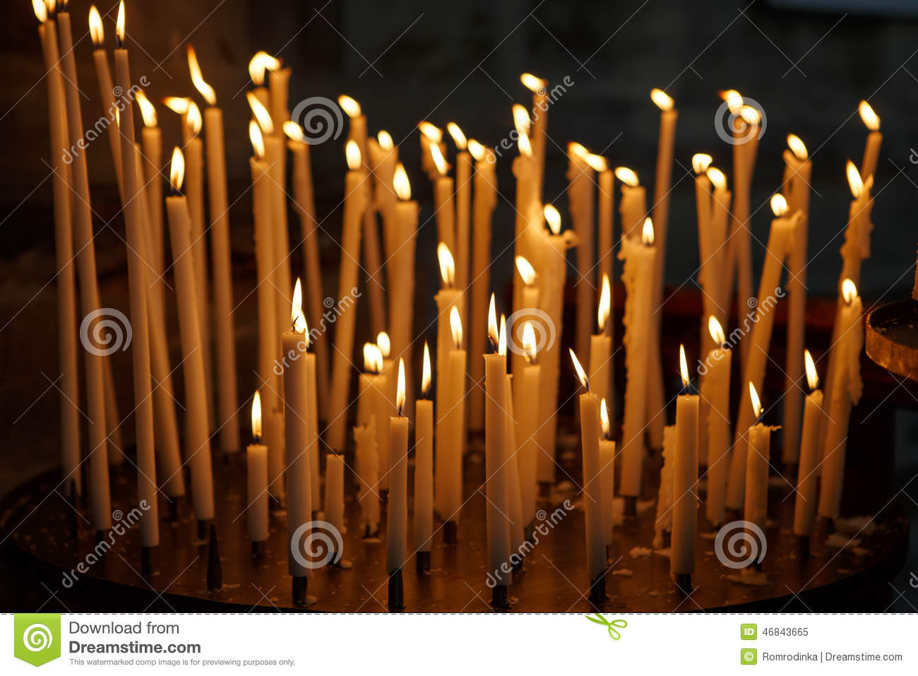 Burning Church Candles On Dark Background Christian Symbol Stock