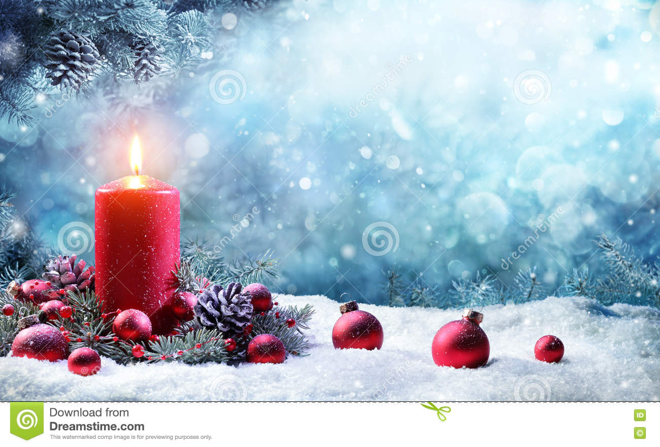 Burning d Advent Candle With Fir Branches