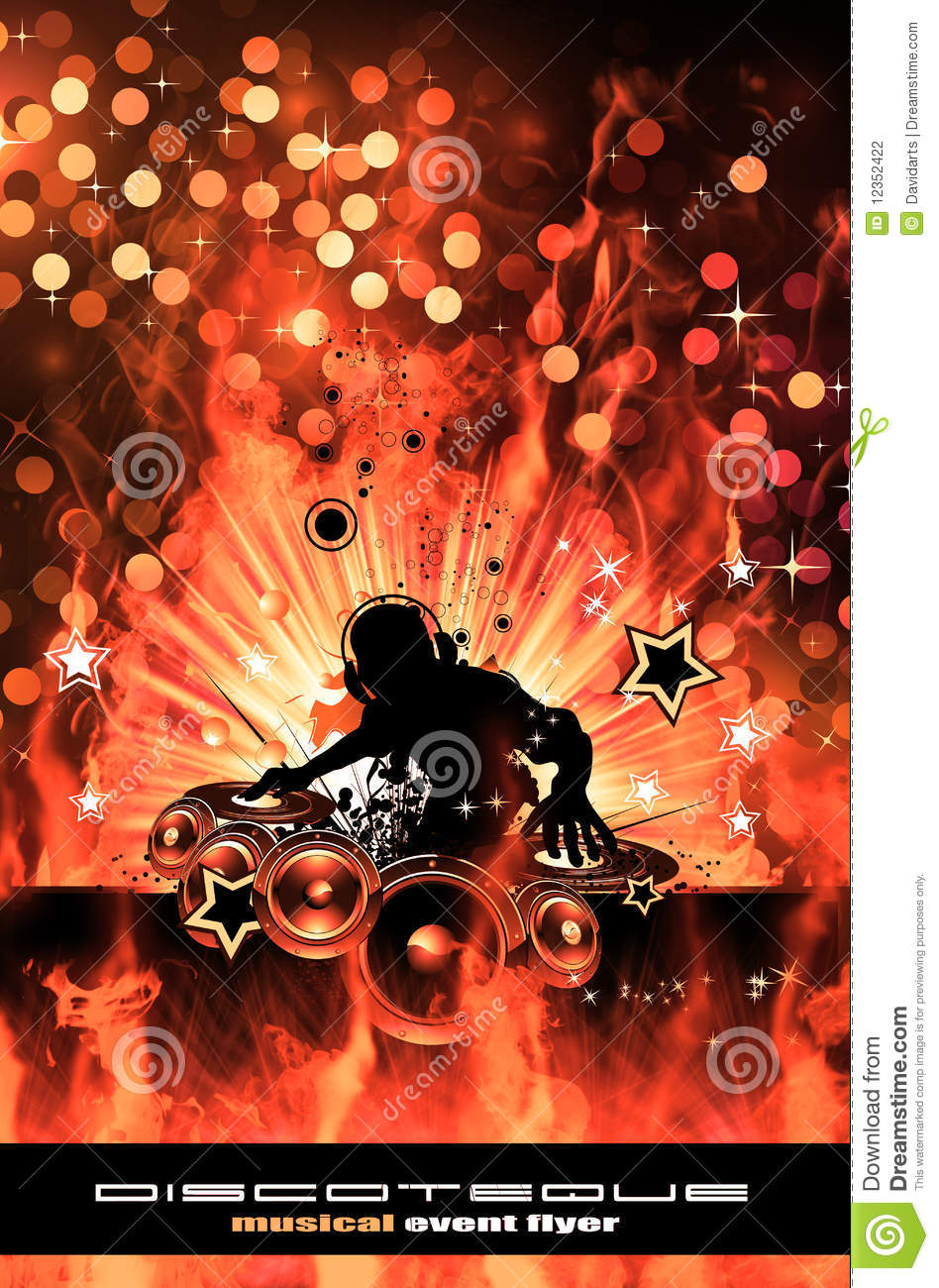 burning dj background for alternative disco flyers stock