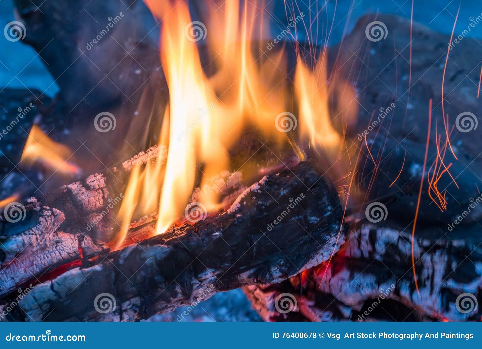 Closeup Of Warm Glowing Embers In Fireplace Stock Image ...