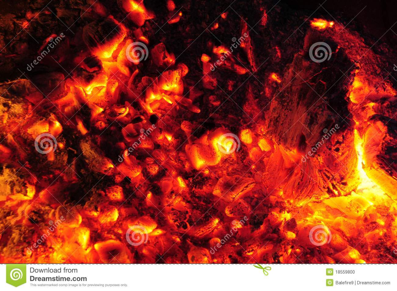 Burning embers in a molten fire